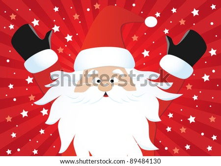 Santa Claus on red background , vector - stock vector