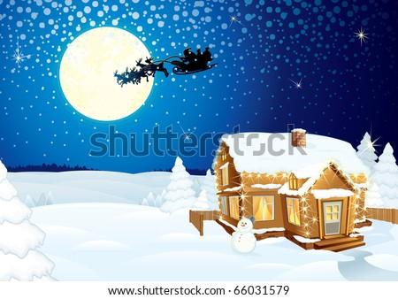 Santa Claus on sledge with Magic Deers flying over night winter background with pine forest, hut, moon and lonely snowman - detailed vector artwork - stock vector