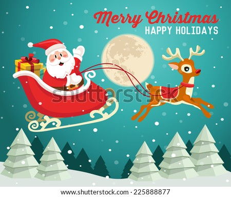Santa Claus on sleigh with reindeer in snowy Christmas night - stock vector