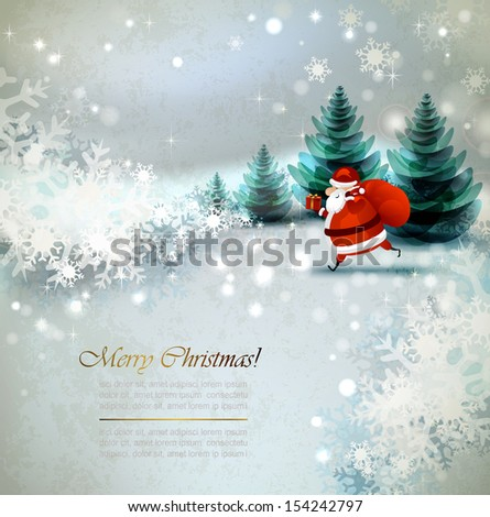 Santa Claus on the Winter landscape  - stock vector