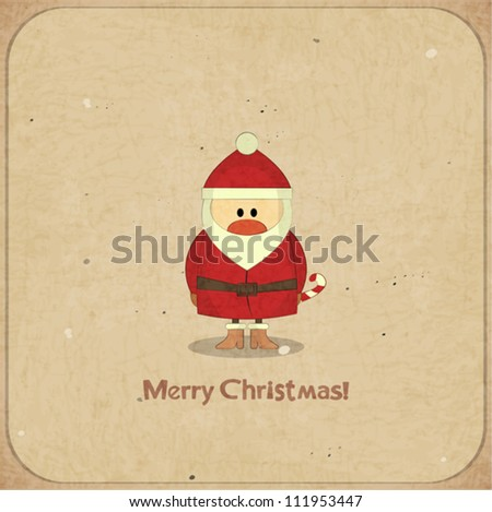 Santa Claus on vintage background, Merry Christmas postcard in Retro style - vector illustration - stock vector