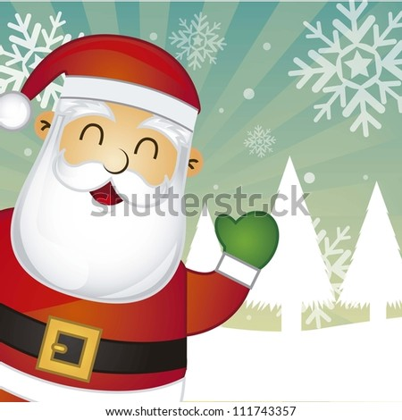santa claus over snow landscape background. vector illustration - stock vector