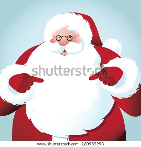 Santa Claus points at your message in his big white beard. EPS 10 vector, grouped for easy editing. No open shapes or paths. - stock vector