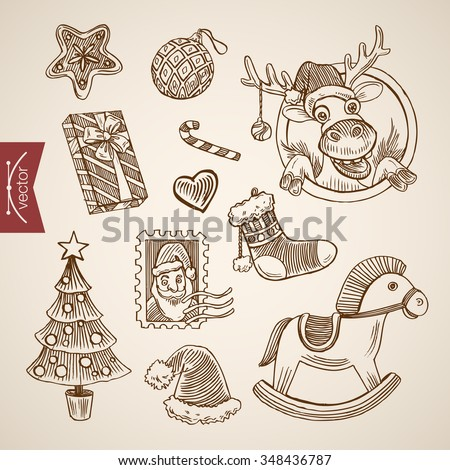 Santa Claus post stamp funny reindeer wooden horse. Christmas New Year handdrawn engraving style template objects set. Pen pencil crosshatch hatching paper drawing retro vintage lineart illustration. - stock vector