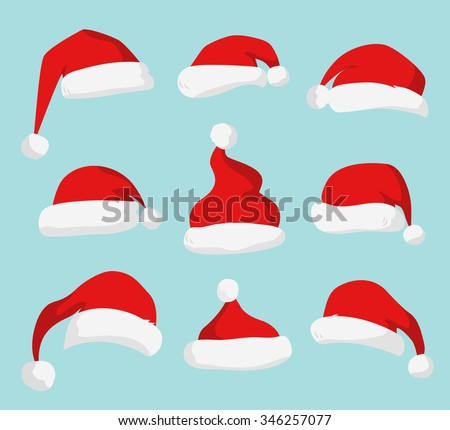 Santa Claus red hat silhouette. Santa hat, Santa red hat isolated on background. Santa hat. New Year 2016 santa red hat. Santa head hat vector. Santa Christmas hat decoration. Santa face hat vector - stock vector