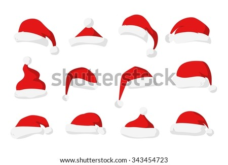 Santa Claus red hat silhouette. Santa hat, Santa red hat isolated on white. Santa hat. New Year 2016 santa red hat . Santa head hat vector. Santa Christmas hat decoration. Santa face hat vector - stock vector
