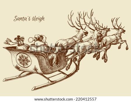 Santa Claus reindeer sleigh sketch - stock vector