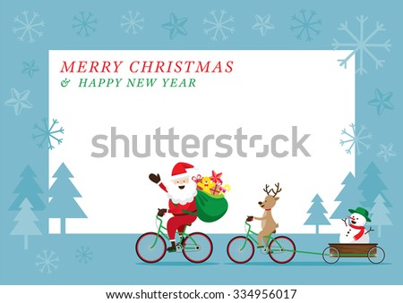 Santa Claus, Reindeer, Snowman Cycling Bicycles, Characters, Merry Christmas and Happy New year - stock vector