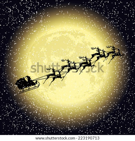 Santa claus rides on deer at night - stock vector