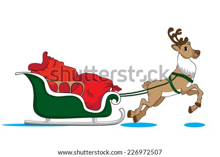 Santa Claus's reindeer with green sleigh deliver Christmas gifts - stock vector