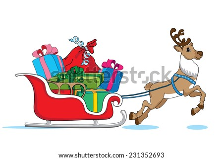 Santa Claus's reindeer with red sleigh deliver Christmas gifts - stock vector