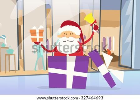 Santa Claus Shop Gift Box Shopping in Mall Center Christmas Holiday Flat Vector Illustration - stock vector