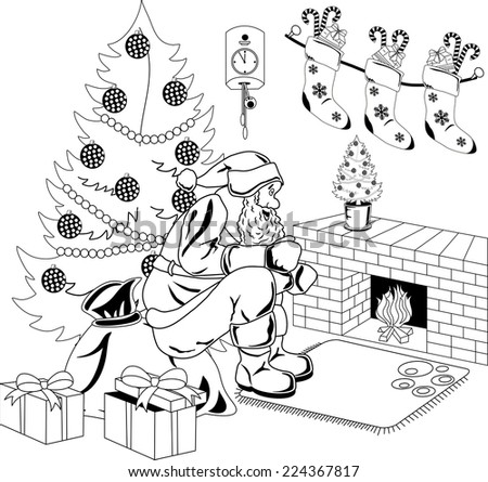 Santa Claus sitting by the fire in the room with Christmas tree. - stock vector