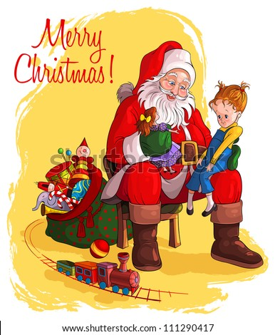 Santa Claus sitting in chair with sack of gift give Christmas gifts to children. Vector art illustration. Also available raster version - stock vector