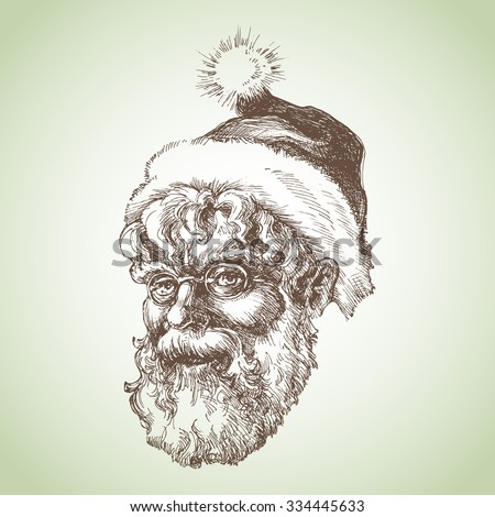 Santa Claus sketch portrait - stock vector