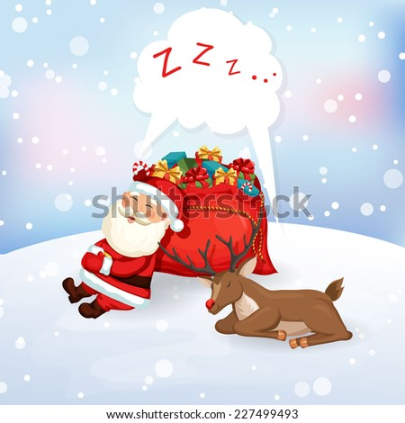 Santa Claus sleeping on a bag of gifts with reindeer. Christmas vector illustration. Holiday background - stock vector