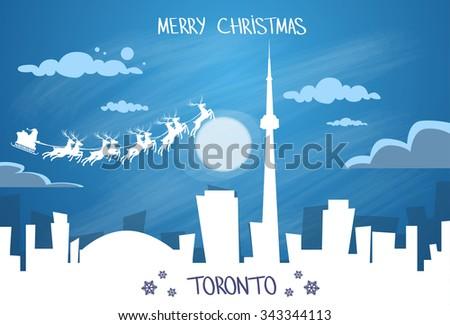 Santa Claus Sleigh Reindeer Fly Canada Sky over Toronto City Silhouette Night Cityscape Snow Skyline Christmas New Year Card Vector Illustration - stock vector