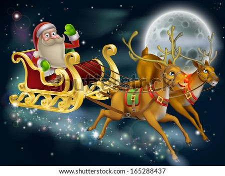 Santa Claus sleigh scene of Santa in his sleigh being pulled through the sky with his reindeer  - stock vector