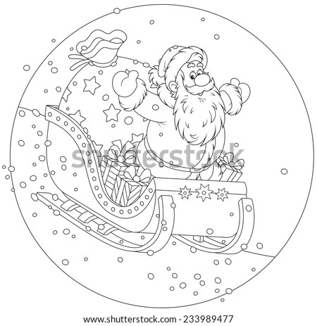 Santa Claus sleighing with Christmas gifts - stock vector