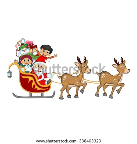 Santa Claus, Snowman and Kids Moving On The Sledge With Reindeer And Brings Many Gifts Vector Illustration - stock vector
