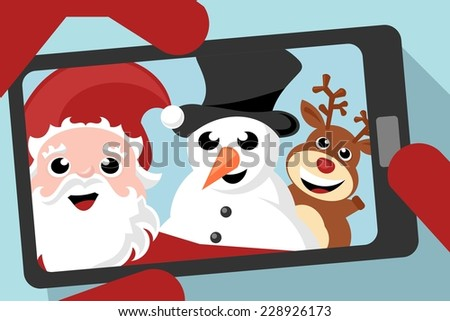 santa claus, snowman and reindeer taking a selfie photo - stock vector