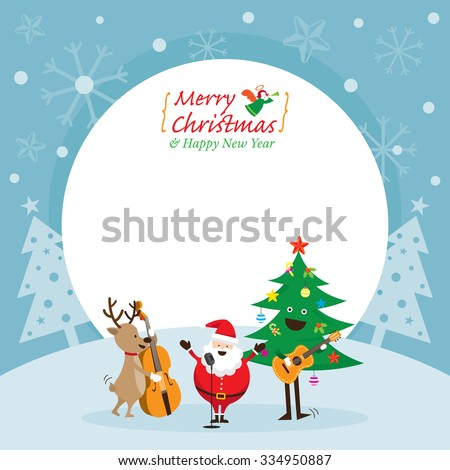 Santa Claus, Snowman, Reindeer, Playing Music Frame, Characters, Merry Christmas and Happy New year - stock vector