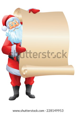 Santa claus standing and holding wishlist isolated - stock vector
