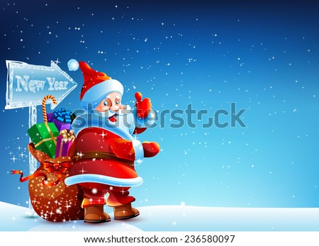 Santa Claus standing in the snow with a bag of gifts and showing thumb up. Santa flying around the snowflakes. He stands against a dark blue sky with stars. Bag with gifts Santa standing in snowdrift. - stock vector