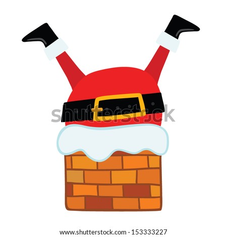 Santa Claus stuck in the Chimney. Christmas background - stock vector