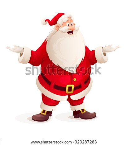 Santa claus throw up hands. vector illustration. Isolated on white background. Transparent objects used for lights and shadows drawing. - stock vector