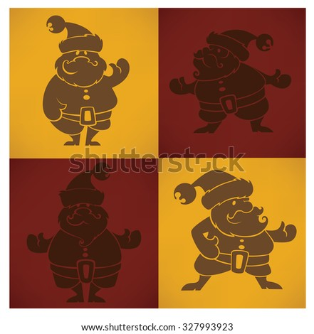 Santa Claus Vector silhouette for greeting Christmas card.  - stock vector