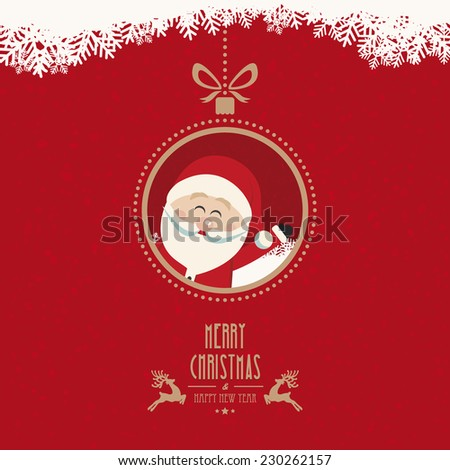 santa claus wave christmas ball snowflakes vintage background - stock vector