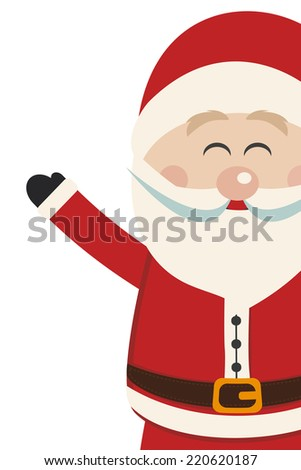 santa claus wave side vintage isolated background - stock vector