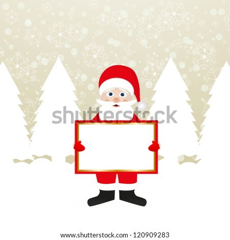 Santa Claus with a banner in the hands of a winter forest - stock vector