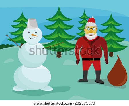 Santa Claus with a snowman in the forest - stock vector