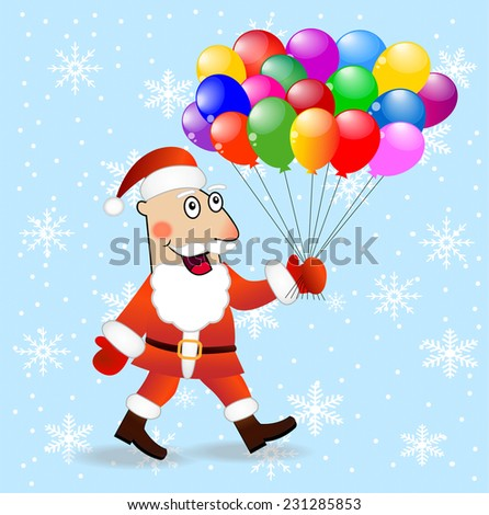 Santa claus with air marbles,  vector  illustration - stock vector