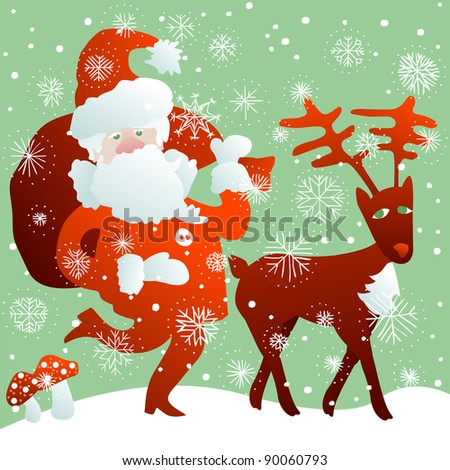 Santa Claus with bag full of Christmas gifts and reindeer in the snow - stock vector