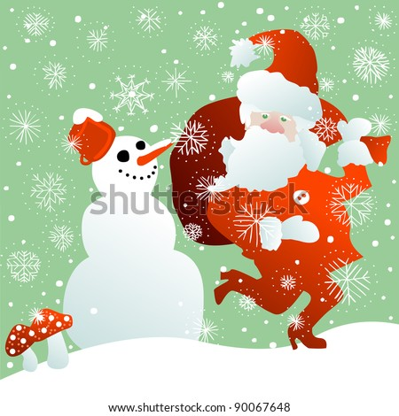 Santa Claus with bag full of Christmas gifts and snowman in the snow - stock vector