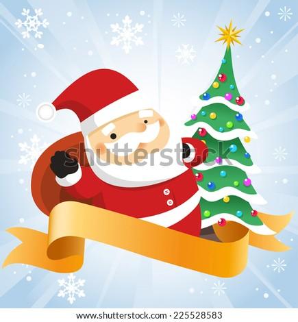Santa claus with banner vector cartoon illustration - stock vector
