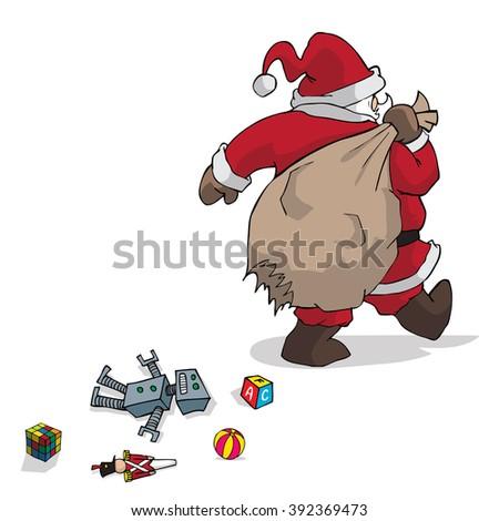 Santa Claus with broken bag - stock vector