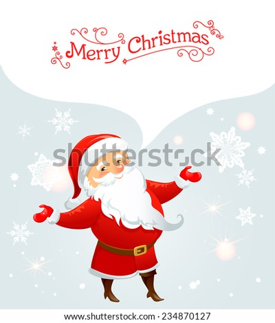 Santa Claus with bubble. Holiday card  - stock vector