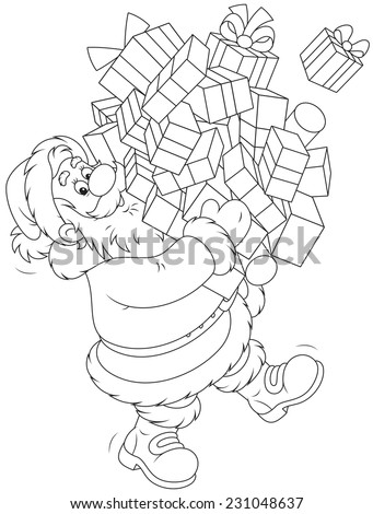 Santa Claus with Christmas gifts - stock vector