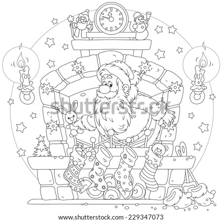 Santa Claus with Christmas gifts in the fireplace - stock vector