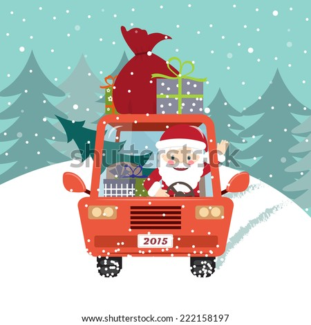 Santa Claus with gifts and tree driving the car - stock vector