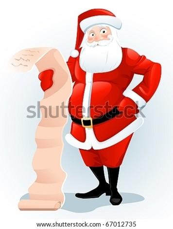 Santa Claus with list. - stock vector