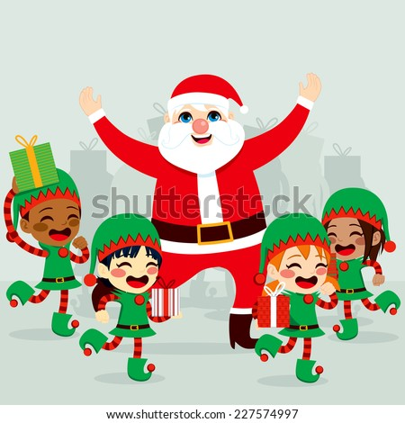 Santa Claus with little helper elves dancing around and preparing gifts to deliver on Christmas day - stock vector
