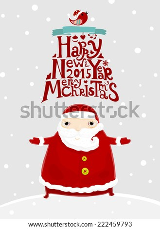 Santa Claus with Merry Christmas Label for Holiday Invitations and Greeting Cards. Xmas Poster, Banner, Placard or Card Template. Winter Illustration with Snowflakes, - stock vector
