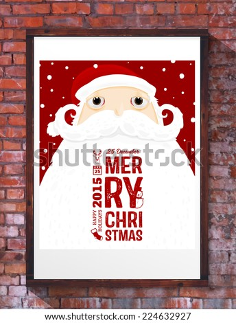 Santa Claus with Merry Christmas Label for Holiday Invitations and Greeting Cards. Xmas Poster, Banner, Placard or Card Template. Winter Illustration with Snowflakes. Brick Wall Background. - stock vector