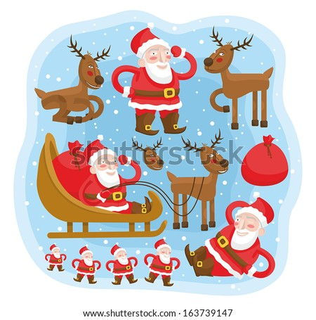 Santa Claus with reindeer and sleigh fun set - stock vector