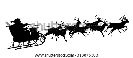 Santa Claus with Reindeer Sleigh - Black Silhouette - Outline Shape of Sledge, Sled - Holiday Season Symbol - Christmas, XMas, X-Mas. - stock vector